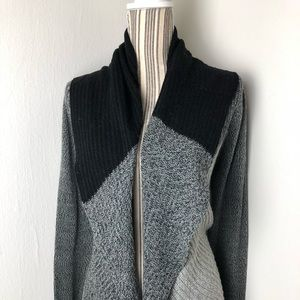 Lucky Brand Open Front Cardigan Gray/Black Sz S